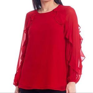 Calvin Klein Chiffon Ruffle-Trim Long-Sleeve Top